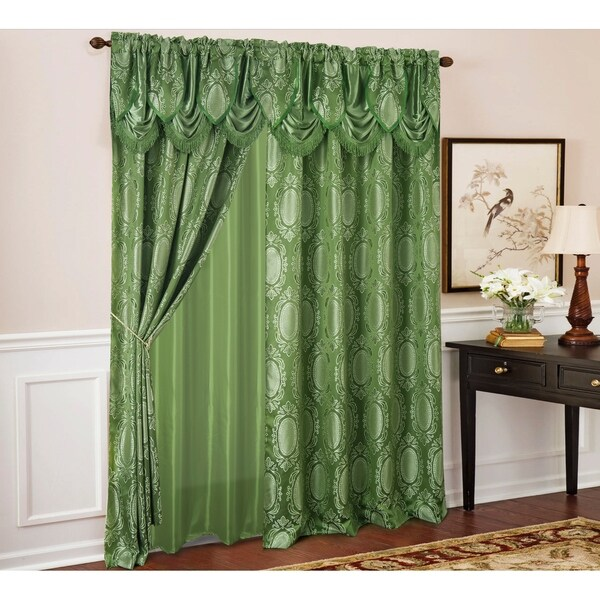 "Brocade jacquard Fabric GREEN x METALIC gold color 44"" Bro684[2]"