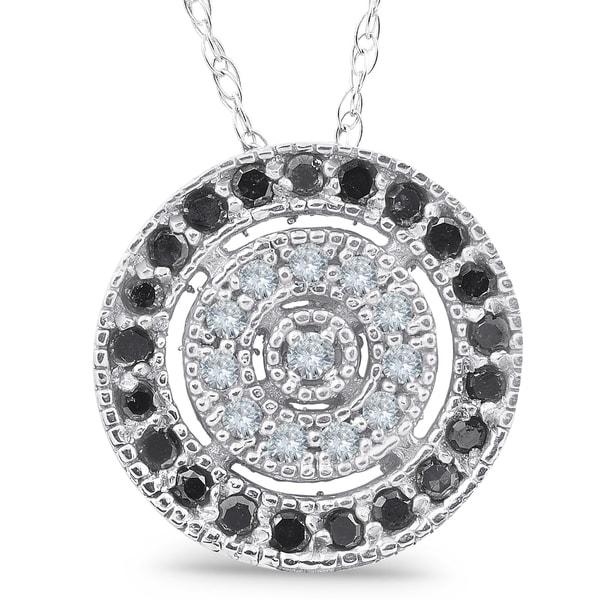 1/3ct Black & White Diamond Fancy Circle Pave Pendant