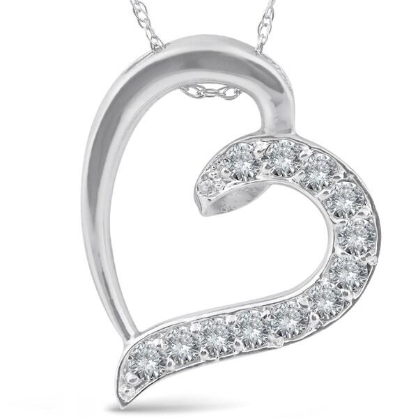 1/2ct Diamond Heart Pendant 10K White Gold