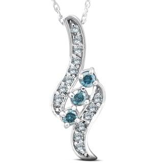 1 3ct 3 Stone Blue Diamond Pendant 14 KT White Gold