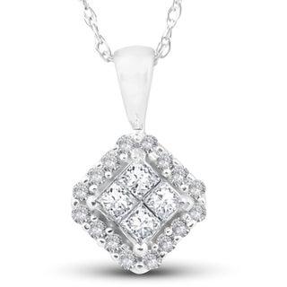 1 4 Ct Princess Cut Pave Diamond Halo Pendant 10K White Gold 1 2 Tall