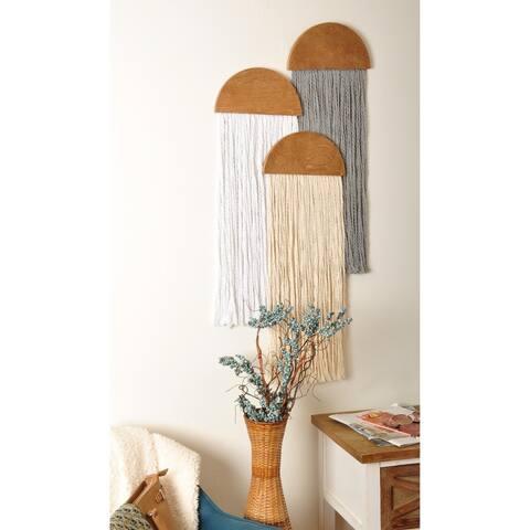 3 Piece Wooden Round Fiber Art Wall Hanging Set - 30 x 29