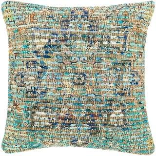Cresco Woven Jute Boho Medallion 18-inch Down or Poly Filled Pillow