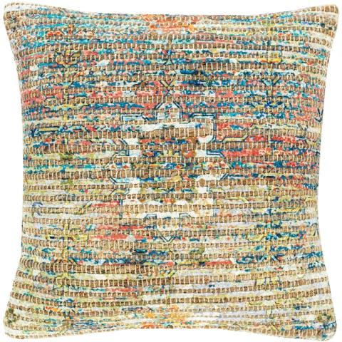 Cresco Woven Jute Boho 18-inch Throw Pillow Cover