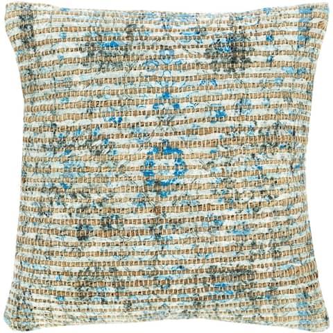 Cresco Floral Woven Jute 18-inch Throw Pillow Cover