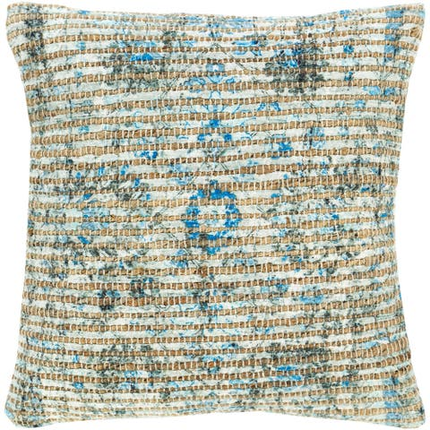 Cresco Floral Woven Jute 18-inch Down or Poly Filled Pillow