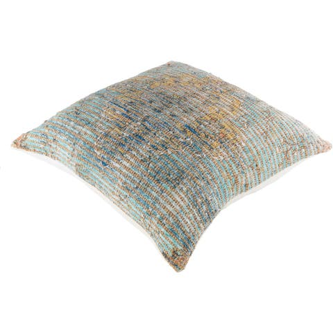 The Curated Nomad Lasuen Pastel Woven 26-inch Floor Pillow with Down or Poly Fill
