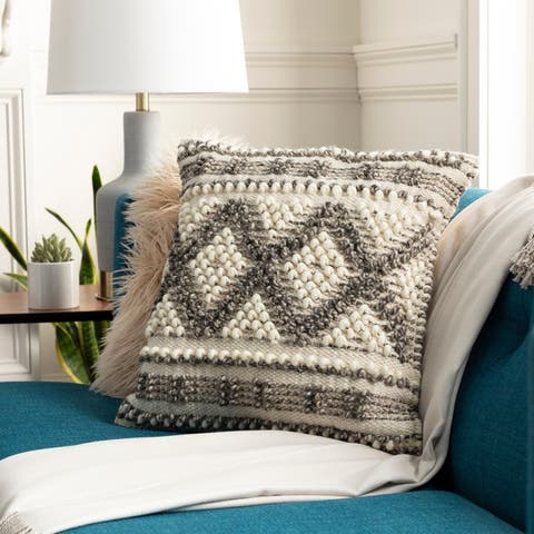 Fiora Boho Patterned Wool 18-inch Throw Pillow Cover