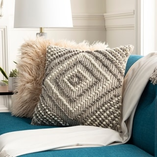 Fiora Boho Diamond Wool 18-inch Throw Pillow Cover