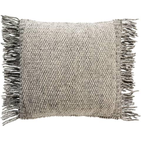 Fiora Boho Fringe Wool 22-inch Throw Pillow Cover