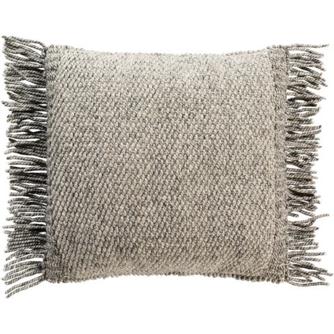 Fiora Boho Fringe Wool 18-inch Throw Pillow Cover