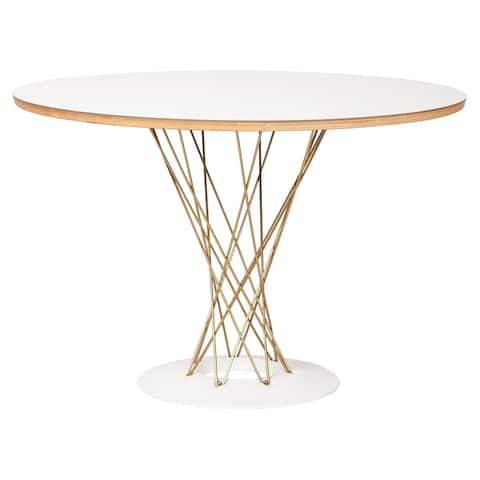 Silver Orchid Blossom White/Gold Dining Table