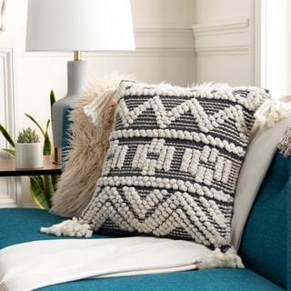 Fiora Boho Tassels Wool 18-inch Throw Pillow Cover