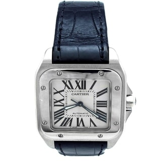 Pre-owned Medium Cartier Stainless Steel Santos 100 Watch