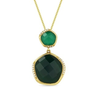 14k Yellow Gold Pendant Necklace With 8 45 Ct Green Agate And 0 07 Ct Round White Diamonds