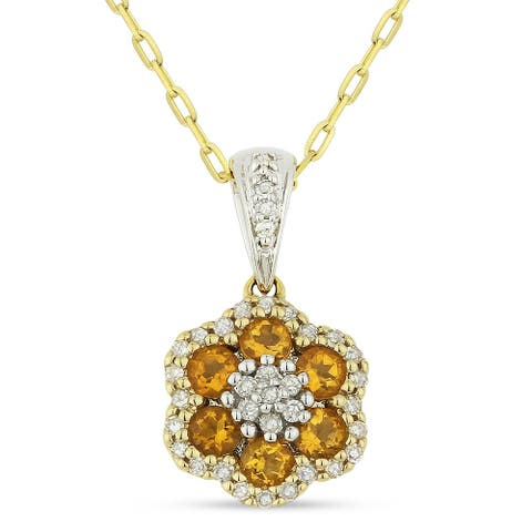 14k Yellow Gold Flower Pendant-Necklace with 0.32-ct Round Yellow Citrine and 0.14-ct Round White Diamonds