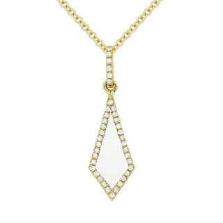 14k Yellow Gold Pendant Necklace With 0 19 Ct White Mother Of Pearl