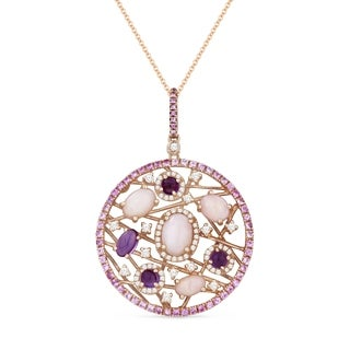 14k Rose Gold Pendant Necklace With 1 62 Ct Oval Pink Opal And 0 83 Ct Round White Diamonds