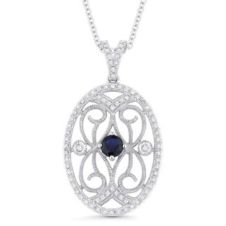 14k White Gold Pendant Necklace With 0 2 Ct Round Blue Sapphire And 0 2 Ct Round White Diamonds
