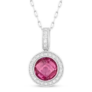 14k White Gold Pendant Necklace With 1 91 Ct Round Created Pink Sapphire And 0 09 Ct Round White Diamonds