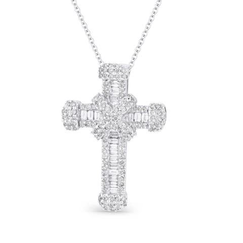 18K White Gold Cross Pendant-Necklace with 0.51-ct Round White Diamonds