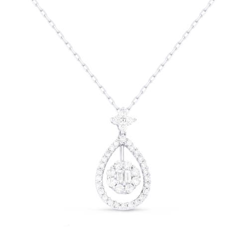 18K White Gold Pendant-Necklace with 0.44-ct Baguette White Diamonds
