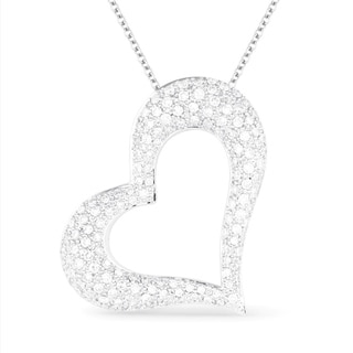 18K White Gold Heart Pendant Necklace With 1 47 Ct Round White Diamonds