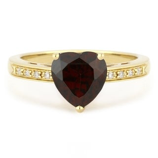 14k Yellow Gold Heart Ring With 1 68ct Heart Red Garnet And 0 03ct Round White Diamonds