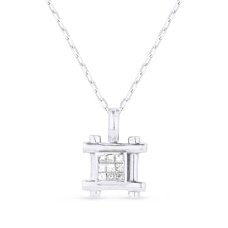 18K White Gold Pendant Necklace With 0 34 Ct Round White Diamonds