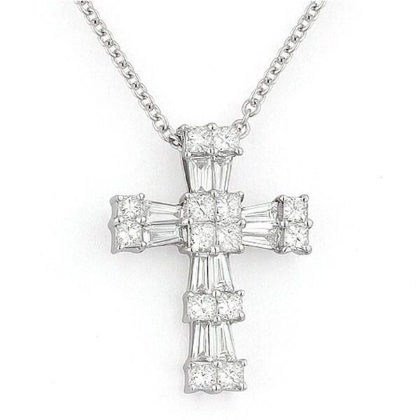 18K White Gold Cross Pendant-Necklace with 0.47-ct Round White Diamonds