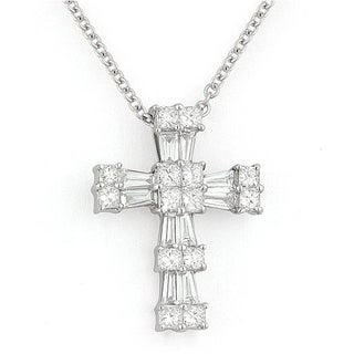 18K White Gold Cross Pendant Necklace With 0 47 Ct Round White Diamonds