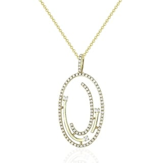 14K Yellow Gold Pendant Necklace With 0 36 Ct Round White Diamonds