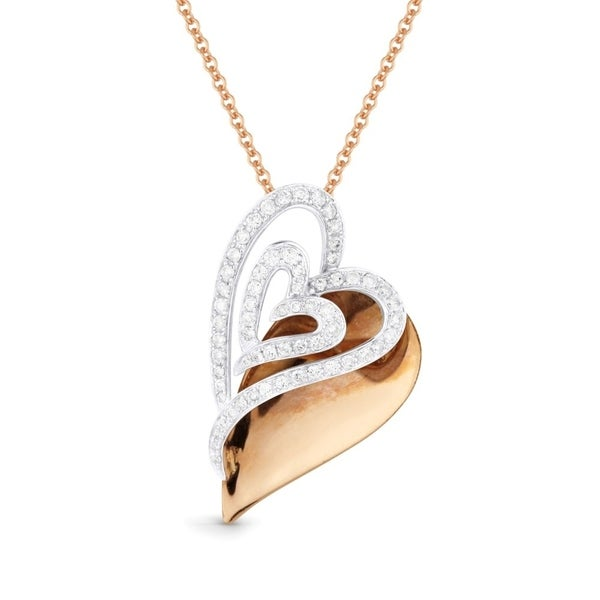 14K Two-Tone Gold Heart Pendant-Necklace with 0.53-ct Round White Diamonds