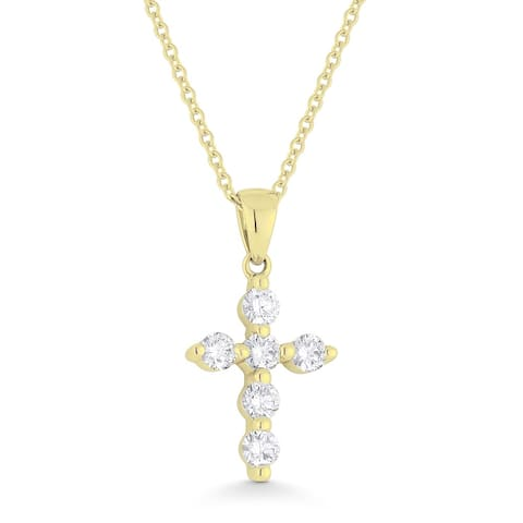 14K Yellow Gold Cross Pendant-Necklace with 0.38-ct Round White Diamonds