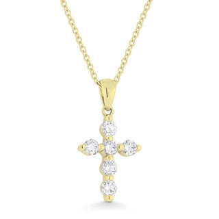 14K Yellow Gold Cross Pendant Necklace With 0 38 Ct Round White Diamonds