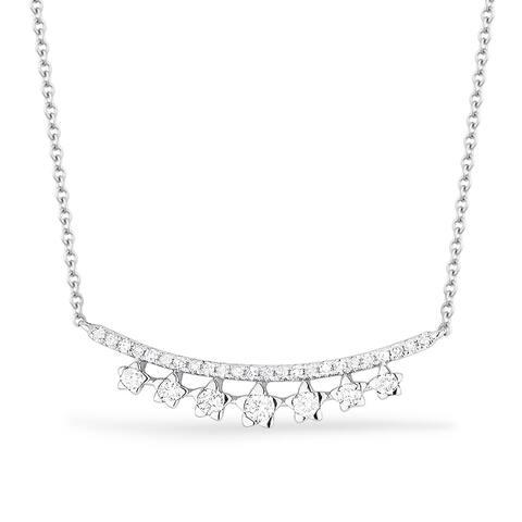 14K White Gold Pendant-Necklace with 0.2-ct Round White Diamonds