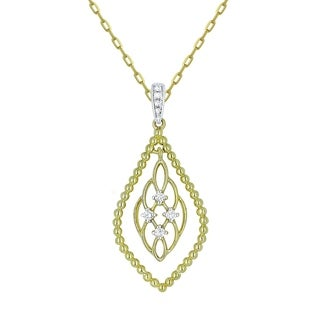 14K Yellow Gold Pendant Necklace With 0 09 Ct Round White Diamonds