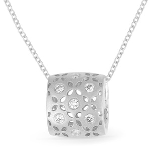 14K White Gold Pendant Necklace With 0 11 Ct Round White Diamonds