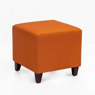 Adeco Simple British Style Cube Ottoman Footstool, 16x16x16, Passionate Orange