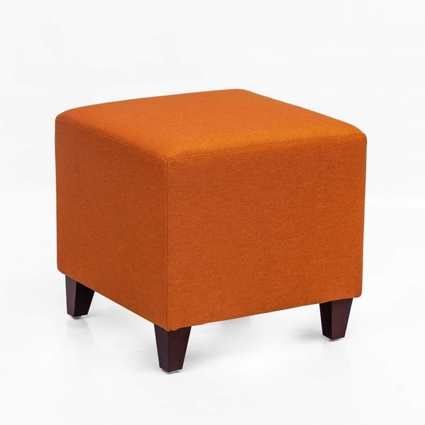 Adeco Simple British Style Cube Ottoman Footstool, 16x16x16, Passionate Orange. Opens flyout.