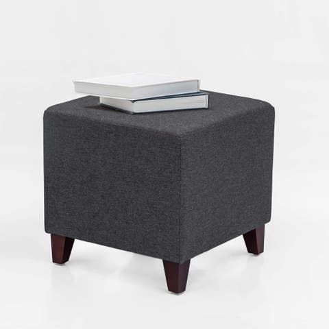 Adeco Simple British Style Cube Ottoman Footstool, 16x16x16, Heather Gray