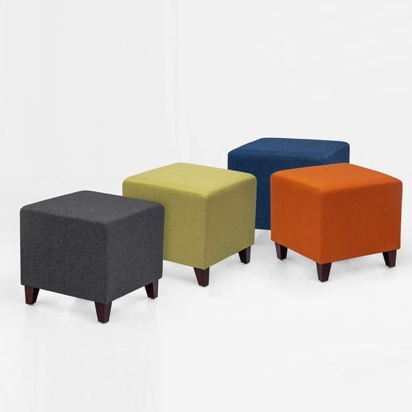 Adeco Simple British Style Cube Ottoman Footstool 16x16x16 Heather Gray Overstock 29302210