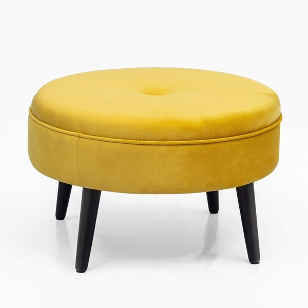 Carson Carrington Juttersbo Round Tufted Fabric Ottoman