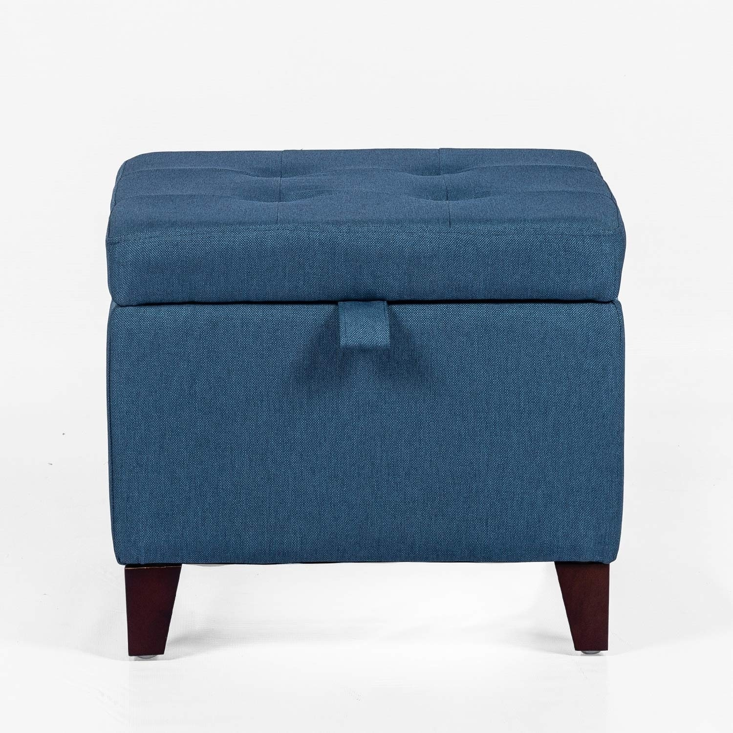 Adeco Square Fabric Storage Ottoman With Tufted Flip Top 18x18x15 Deep Blue On Sale Overstock 29302212