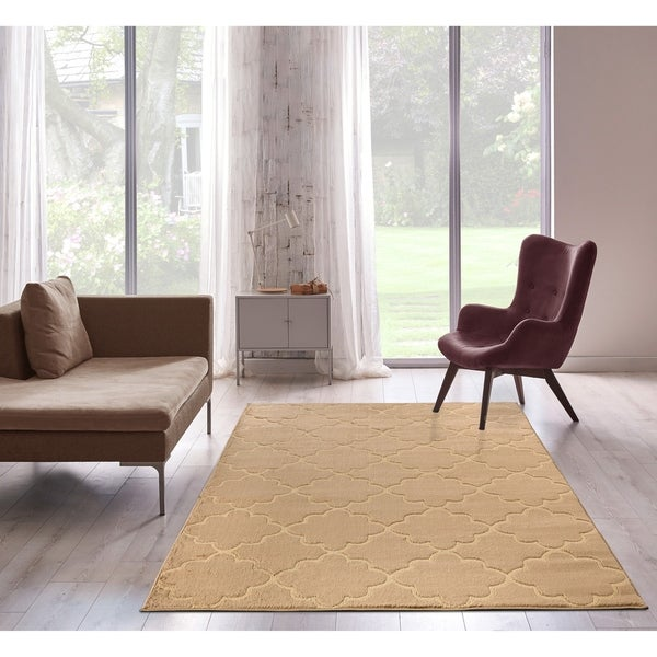 Bella Collection Floral Pattern Area Rug, Beige