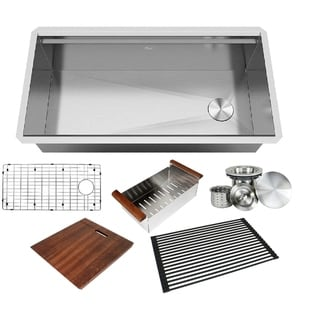 Stainless Steel ALL-IN-ONE Workstation 36 in. 16-Gauge Undermount Single Bowl Kitchen Sink w/ Build-in Ledge and Accessories