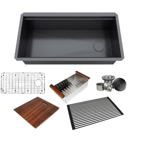 Stainless Steel Workstation 16-gauge Undermount Single Kitchen Sink