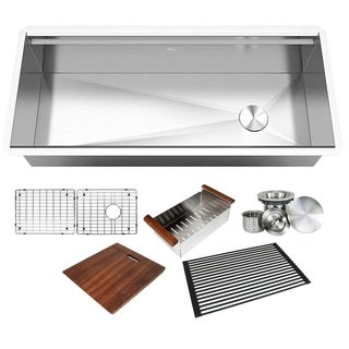 Link to 42 in. Stainless Steel  ALL-IN-ONE Workstation 16-Gauge Undermount Single Bowl Kitchen Sink w/ Build-in Ledge and Accessories Similar Items in Sinks