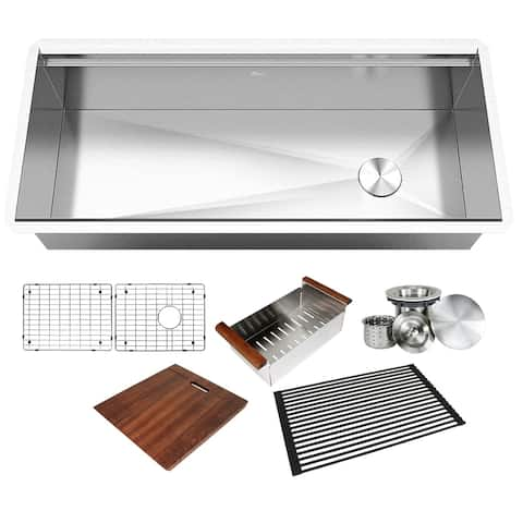 42 in. Stainless Steel ALL-IN-ONE Workstation 16-Gauge Undermount Single Bowl Kitchen Sink w/ Build-in Ledge and Accessories