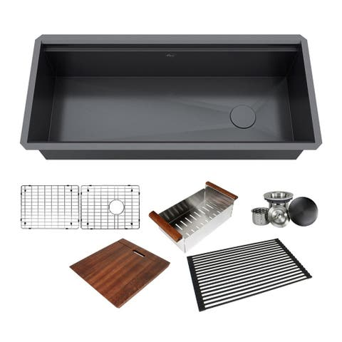 42 in. Stainless Steel Black ALL-IN-ONE Workstation 16-Gauge Undermount Single Bowl Kitchen Sink Build-in Ledge and Accessories
